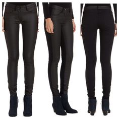 3x1 Coated Contrast Black Jeans NWT Amazing jeans by 3x1 (sold at Bloomingdales) this style is completely sold out. The front is waxed/coated and the back is a thick cotton stretch denim. Size 27 is NWOT size 31 is NWT. Retails for $245. P27L 3x1 Jeans