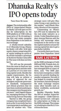 News Coverage of Dhanuka Realty Limited IPO in Times of India