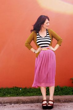 love the pink skirt and striped top!