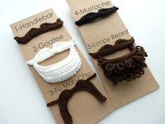 Pick 2--Crochet Mustache, Handlebar, Fu Man Chu, Goatee, Loopy beard--Costume-Play-Pretend-Tie on--Photo prop. $12.00, via Etsy.