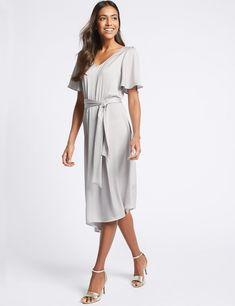 Satin Asymmetric Tunic Maxi Dress -m&s Satin Dresses, Lingerie Set, Body Shapes, Formal Wear, Dress Making, Wrap Dress, Cold Shoulder Dress, Women Wear, Tunic