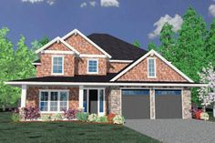 45 foot wide Country Style House Plan - 3 Beds 3.5 Baths 2668 Sq/Ft Plan #509-7 Exterior - Front Elevation - Houseplans.com