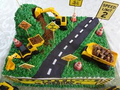 Here's a fun little sheet cake made for my sweet little nephew, Lorenzo. The face of the cake is appropriately worded as that little man literally climbs the walls! Love him to pieces! Toddler Birthday Cakes, 12th Birthday Cake, Birthday Sheet Cakes, Kids Construction Cake, Construction Birthday Parties, Digger Birthday, Digger Cake, Number Cakes, Cakes For Boys