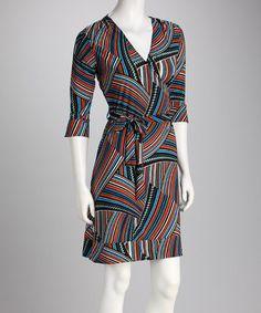 24/7 | Red & Blue Stripe Surplice Dress