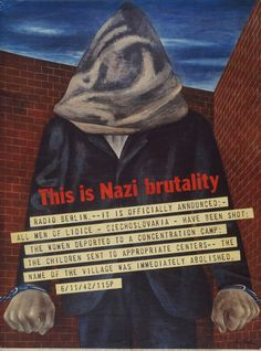 By Ben Shahn, 1943, This is Nazi Brutality, Offset lithograph.