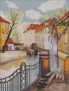 `Прага` схема для вышивки чешским бисером с полной зашивкой
