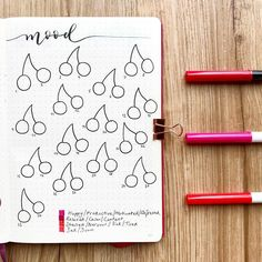 Planner doodles mood tracker. Cherries decoration bullet journal layout ideas. Cute, fun, easy planner ideas!