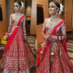 Haute spot for Indian Outfits. Indian Wedding Gowns, Indian Bridal Outfits, Indian Bridal Wear, Indian Dresses, Bridal Dresses, Indian Clothes, Designer Bridal Lehenga, Bridal Lehenga Choli, Red Wedding Lehenga