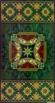 "eQuilter BEHOP6JT - Star of Hope - Celtic Dreams - Pine Green - 24"" x 44"" PANEL from the 'Star of Hope' collection by Benartex."