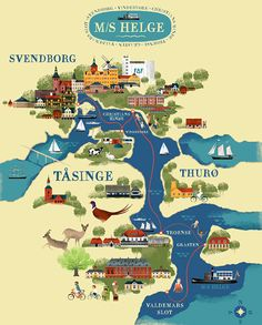 Svendborg and surrounding islands map by Martin Schwartz