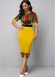 Women'S Yellow Tribal Print Half Sleeve Round Neck Sheath Dress Spring Midi Elegant Cocktail Party Dress By Rosewe Half Sleeve Round Neck Tribal Print Short African Dresses, Latest African Fashion Dresses, African Print Fashion, Women's Fashion Dresses, Modern African Fashion, African Style Clothing, African Women Fashion, African Fashion Designers, African Clothes