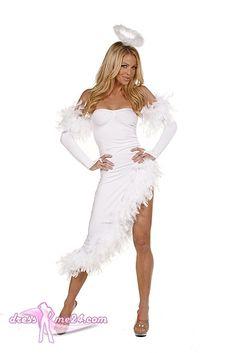 Besuche uns gern auch auf dressme24.com ;-) Engel Kostüm - Deluxe Angel - Elegantes und asymetrisch geschnittenes trägerloses Stretch Microfaser Kleid mit Chandelle Feder Verzierung. Inklusive Armstulpen und Heiligenschein. #Engelskostüm, #Faschingskostüme