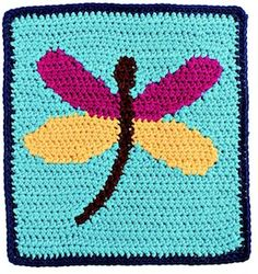 Square 21: Dragonfly - $18.49 (as part of an ebook) by Laurinda Reddig of ReCrochetions / Bugs Part 2 - Animal Crochet Pattern Round Up - Rebeckah's Treasures