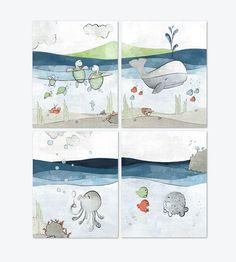 Nautical Nursery Set of 4 Art Prints - Whale, Turtles, Octopus, and Pufferfish Art For Kids, Art Prints, Nursery Illustration, Ocean Illustration, Nursery Art Prints, Background Drawing, Art Wall Kids, Wall Drawing, Art
