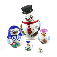 """""""1-1/4"""" Tall Tiny Snowman Babushka Item No. ND00223A05 $24.49 This cute snowman nesting doll is imported directly from Russia. It is hand carved from birch wood and hand painted by Russian artist. Open it up and it reveals a set of smaller dolls. Makes a great gift for a collector of miniatures. The largest doll measures about 1 1/4"""" in height, and the last one is about 3/16"""" tall. These are the smallest nesting dolls ever created in Russia."""" Russian Landscape, Russian Winter, Hand Carved, Hand Painted, Cute Snowman, Great Gifts, Miniatures, Carving, Dolls"""