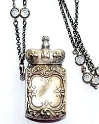 Antique Victorian Crown Vesta Necklace-victorian,match, case,silver,chain,swarovski,jewelry