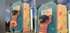 Cet artiste transforme la façade d'un immeuble en livre géant