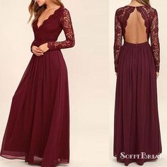 39506b4487309 Burgundy Lace V-neck Open Back A-line Chiffon Bridesmaid Dresses, Long  Sleeve Wedding Guest Dresses, PD0299