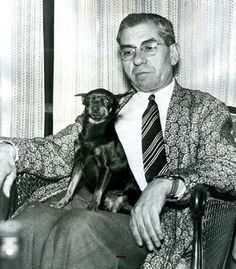 Lucky Luciano at home in Naples. He was released from prison and deported in 1946, following reputed cooperation with the United States Military prior to and during the invasion of Sicily and later of Italy.