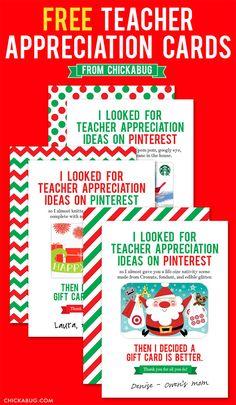 Awesome FREE teacher appreciation cards {for the holidays!} #freeprintable #teacherappreciation #chickabug