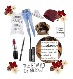 """•The beauty of silence•"" by aranu1246 ❤ liked on Polyvore featuring Converse, MAC Cosmetics, Maybelline and NARS Cosmetics"