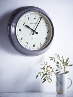 Set in a soft matt pewter frame with a bevelled edge, our traditional wall clock has a simple face with two elegant metal hands that have a smooth and silent tick. Each clock has a glass front and is perfect for displaying in your hallway, off Traditional Wall Clocks, Kitchen Clocks, Simple Face, Pewter, Interior Design, Metal, Glass, Hallway Office, Lovely Things