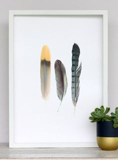 Metallic Feathers Print by Cloud Nine Creative www.cloudninecreative.co.nz