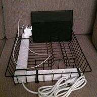 Use an inexpensive dish rack or file organizer to store tablets and cords in the classroom.