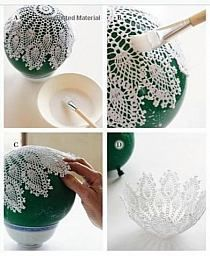 Схемы вязания / Вязание крючк… na Stylowi. Doilies Crafts, Lace Doilies, Crochet Lampshade, Doily Art, Crochet Projects, Diy Projects, Concrete Crafts, Crochet Decoration, Christmas Crafts