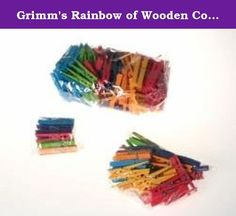 Grimm's Rainbow of Wooden Colored Clothespins - For Play & Crafts, Set of 126. Incredibly rich and vibrant, the Grimm's Play Clothespins will inspire creative expression and brighten up any room with its many uses. Hang children's art work, family photos, birthday cards, notes, etc. along a string. Also wonderful to secure a cape, organize children's boots, hang up doll's or children's clothes, create room mobiles, fasten lunch bags, close food packages, etc. Glue a magnet on one side and...