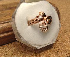 precioso anillo oro rosa 18 k con cristales austriacos