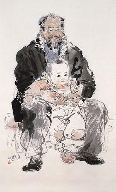 인물 Ink Painting, Watercolor Art, Tinta China, Chinese Brush, India Ink, China Art, Drawing Skills, Chinese Painting, Portraits