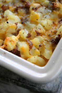 Cheesy Potato Breakfast Casserole     I   made this for a meeting for my husband's work and it was a hit! I used maple sausage for a hint of sweet with the salty. It's heavenly!!!