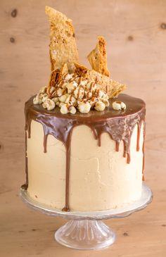 Salted caramel cake, layer cake, dripping ganache, honeycomb, salted caramel popcorn