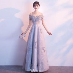 Chic / Beautiful Grey Evening Dresses 2017 A-Line / Princess Lace Appliques Beading Crystal Off-The-Shoulder Backless Short Sleeve Ankle Length Formal Dresses