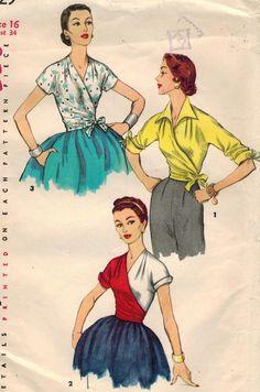 1950s Simplicity 1129 UNCUT Vintage Sewing Pattern Misses Wrap Blouse Size 16 Bust 34