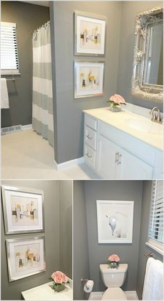 10 Creative DIY Bathroom Wall Decor Ideas bathroom wall art and decor - Bathroom Decoration Pictures For Bathroom Walls, Gray Bathroom Walls, Kid Bathroom Decor, Wall Decor Pictures, Diy Bathroom Remodel, Bathroom Wall Decor, Simple Bathroom, Diy Wall Decor, Modern Bathroom