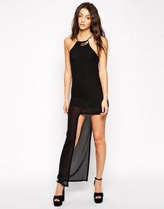 Glamorous Dress with Asymetric Skirt - Black