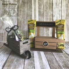 Stampin' Up! Crate wheel barrel and lemonade stand. Wooden Crates Gifts, Wood Crates, Wooden Diy, Crate Crafts, Packing Boxes, 3d Paper Crafts, Fancy Fold Cards, Dollar Store Crafts, Craft Sale