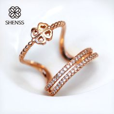 SHENSS Elegant Quality 925 Sterling-Silver-Jewelry Rings  Luxury Exaggerated Multi-layer Zircon Open Ring SR0101