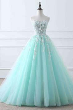 quinceanera dresses Light blue tulle applique sweetheart lace up ball gown dresses from Girlsprom - Tulle Ball Gown, Ball Gowns Prom, Tulle Prom Dress, Ball Gown Dresses, Evening Dresses, Tulle Lace, Dress Lace, Pageant Dresses, Mint Quinceanera Dresses