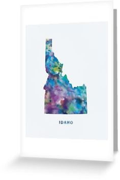 Idaho   #idaho #boise #unitedstates #usa #state #map #art #print #greeting #post #cards #stationery #gift #ideas #shopping #abstract #travel #minimalist #modern #typography #colorful #watercolor