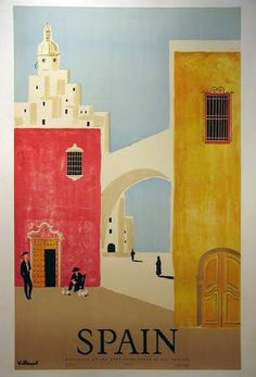Spain vintage travel poster. http://www.costatropicalevents.com/en/costa-tropical-events/andalusia/welcome.html