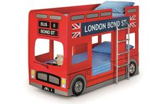 Julian Bowen Childrens Novelty Red London Bus Bunk Bed