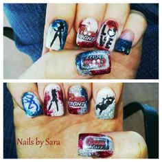Coors Light, Cowboy, cowgirl, acrylic nails, bronc rider, browning buck and doe
