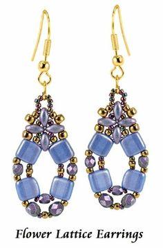 Flower Lattice Earrings  8 SuperDuo beads 8 CzechMates™ Triangles 6 3mm beads 4 4mm beads 8 8/0 seed beads 26 11/0 seed beads 42 15/0 seed beads 2 jump rings 2 ear wires