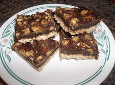Sandi's Allergy Free Recipes: Chocolate Walnut Squares (Gluten Free/ Dairy Free/ Sugar Free) #glutenfreefridays via vegetarianmamma.com