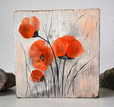Original Painting on Wood. Abstract Art. Flowers painting. Wall Art. Contemporary Fine Art. Original oil painting Poppies on reclaimed wood. This flowers