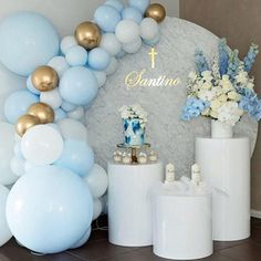 Source golden stainless steel or acrylic wedding party decoration flower display. - Source golden stainless steel or acrylic wedding party decoration flower display pillar on m. Baptism Party Decorations, First Communion Decorations, Baby Shower Decorations, Baby Boy Christening Decorations, Baby Boy Baptism, Baby Christening, Boy Baptism Party, Boy Baby Shower Themes, Baby Shower Balloons