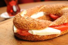 Have a good with with this delicous Simit sandwich and Turkish tea! :)
